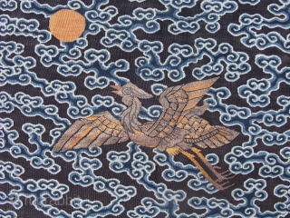 Antique Chinese rank badge, 7th rank Mandarin Duck, hand woven fine tapestry weave, Kesi, Kossu, and couched metal threads, very nice work, notice the shading in the feathers of the duck created  ...