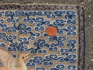 """Antique Chinese textile, Mandarin square, civil rank badge, the round head, tan color, and """"comma"""" shaped feathers on the back identify the bird as a Wild Goose, 4th Civil rank, hand woven  ..."""