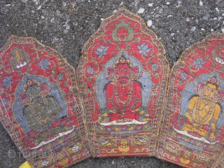 Antique Tibetan ritual Diadem, crown, jacquard woven silk brocade on cardboard?, 5 seated Buddhas, early 20thC?, the size of each panel is 4.5 inches x 7.25 inches, signs of use and wear,  ...