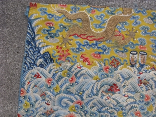 Antique Chinese textile, a fragment of an Imperial robe with 5 claw dragons and sacrificial cups, longpao, hand embroidered silk and couching of gold metal threads on yellow silk, notes of interest  ...