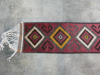 Antique Uzbek Julkhyr rug / runner, perhaps a tent band, shaggy hand knotted wool pile, warp face weaving, Northern Afghanistan or Uzbekistan, early 20thC, great for a long narrow hall or stairs,  ...