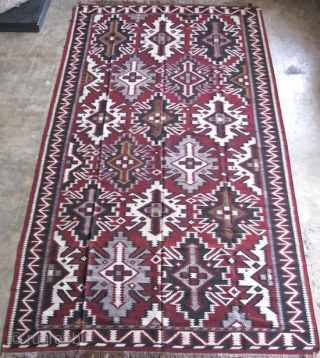 "Caucasian kilim, wool on wool,size 5 ft. 8 in. x 10 ft. 5 in., Pashaly design, This type of kilim is normally attributed to Kuba, however, Robert Nooter in his book ""Flat  ..."