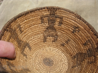 Antique Native American basket, conical shape with human figures, hand coiled willow and devils claw, ca.1900, at first blush, I thought this was a Pima basket because it is so finely woven,  ...