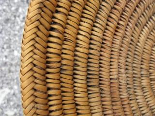Antique Navajo basket, hand coiled on rods with a cloth start, herringbone rim finish, these are called wedding baskets, but could be used for many purposes, Southwest US, early 20thC, soiling and  ...