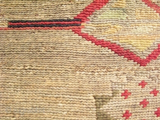 Nez Perce bag, Native American basketry, hand spun dyed and undyed corn husk, traded European wool yarns, hand woven closed twining,  plateau region USA, ca.1880, condition issues consistent with use, loss  ...