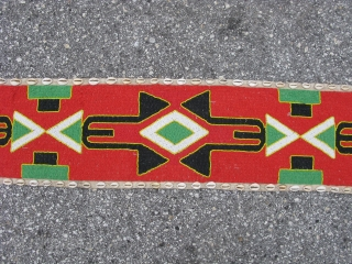 African hand made beaded hanging, Yoruba People, Nigeria, shaman's divining hanging, could also be worn as a ceremonial garment, polychrome glass beads and cowry shells on fabric, there is a beaded loop  ...