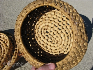 Antique Louisiana Native American basket, Houma Indians, ca. 1st QTR 20thC, a lidded knob top basket, the lid is attached with a small amount of hand twisted cypress tree bark, hand woven  ...