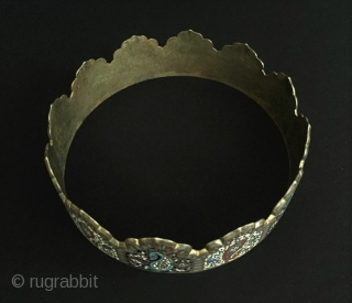 Central-Asia Uzbekistan - bokhora ethnic traditional copper enameld crown Good condition ! Circa - 1900 Size - Circumference : 55.5 cm - Height : 4.8 cm - Weight : 459 gr Thank  ...