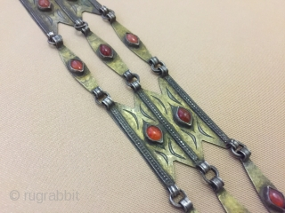 Central-Asia Tekke-Turkmen Silver Ethnic Haddress Necklace with cornalian fine fire gilded Very fine condition ! Circa-1900 Size : ''93cm x 6cm'' - Weight : 90 gr Thank you for visiting my rugrabbit  ...