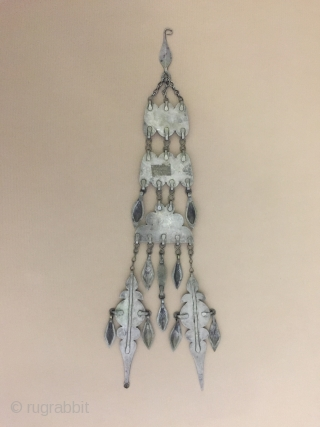 Central-Asia Turkmen antique silver haddress necklace fire gilded with cornalian collector piece. Great condition ! Circa-1900 Size : ''38cm x 8cm'' - Weight : 99 gr Thank you for visiting my rugrabbit  ...