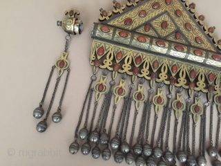 Central-Asia RARE - Turkmenistan-Tekke Antique very fine bukhara design collection tribal silver necklace (Tumar) Fire gilded with cornalian Great condition ! Circa-1900 Size - Height : 41.5 cm - Lenght : 37  ...