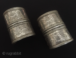 Central-Asia A pair of Afghanistan (olam) fine handcrafted talismanic design tribal silver pair cuff bracelets (Arm-band) Great condition ! Circa-1900-20 Size - Height : 8.5 cm - Width : 6.5 cm -  ...