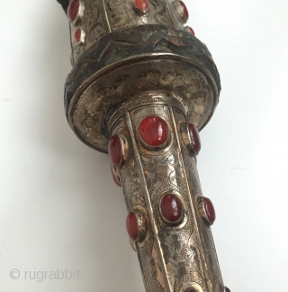 Central-Asia Afghanistan silver embroidered collectible walking stick on wood with cornalian Size - Lenght : 90 cm Thank you for visiting my rugrabbit store !