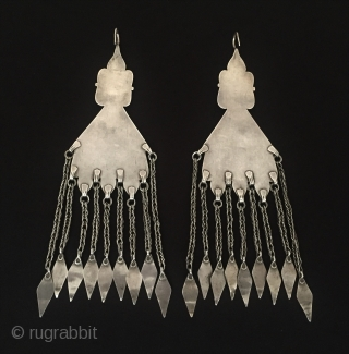 Central-Asia Turkmen A pair of ethnic tribal silver earrings gilded with cornalian very fine handcrafted turkoman jewelry Great condition ! Circa - 1900 Size - Height : 20 cm - Width :  ...