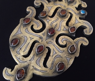 Central-Asia Turkmen-tekke antique amulet vintage silver pendant (gurbagkha) fine gilded with cornalian and turquoise original ethnic tribal jewelry / jewellery Great condition ! Circa - 1900 Size - Height : 14.5 cm  ...