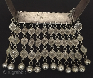 Central-Asia Turkmen-tekke A beautifull ethnic tribal silver tassel necklace fire gilded with cornalian Great condition ! Circa - 1900 or earlier Size - With tassel height : 18 cm - Width :  ...