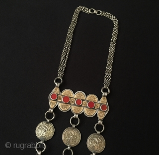 Central-Asia Turkmen-yomud ethnic tribal silver necklace with tree heart fire gilded with cornalian very fine handcrafted Turkoman headdress jewelry / jewellery Excellent and Great condition ! Circa - 1900 Size - Lenght  ...