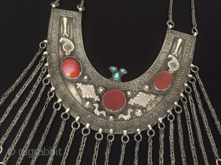 Central-Asia Ethnic traditional Turkmen antique silver tassel necklace with cornalian and turquoise very fine handcrafted Excellent condition ! Circa - 1900 Size - With chain height : 47 cm - Height :  ...