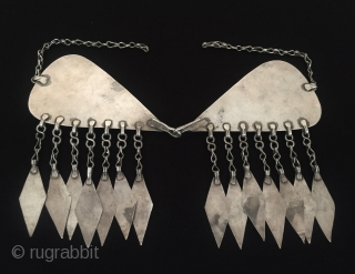 Central-Asia Antique Turkmen ethnic tribal silver hair jewelry with cornalian very fine handcrafted handwriting for İslamic - dua Great condition ! Circa - 1900 Size - Height : 11.8 cm - Width  ...