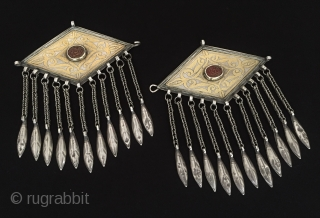 Central-Asia A pair of Turkmen-İskendery design ethnic tribal silver donbaghcık jewelry fire gilded with cornalian on the stone for islamic - (dua) for goodluck Very fine condition ! Circa - 1900 Size  ...