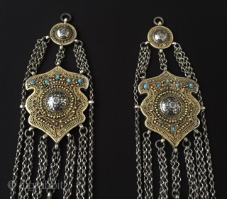 Caucasian Antique A pair of traditional ethnic silver headdress jewelry with turquoise This is a collector pieces. very fine handcrafted Great condition ! Circa - 1900 or earlier Size - Lenght :  ...