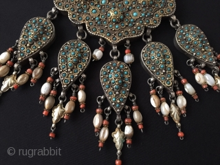 Central-Asia Uzbekhstan - Bukhara antique tribal silver necklace fire gilded and with coral turquoise-firuzy stone original ethnic jewelry / jewellery A rare traditional collection necklace Excellent and Great condition ! Very fine  ...