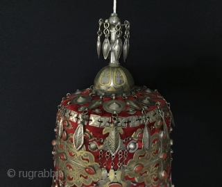 Central-Asia A rare collection Turkmen ethnic traditional wedding hat with cornalian fire gilded and with silk tassel very fine handcrafted This is a collector hat Excellent and Great condition ! Circa -  ...