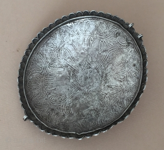Ethnic tribal from Afghan old silver belt buckle, Talismanic design fine condition turquoise and with gemstone.Fine condition ! Circa - 1900 - 30 Size - 14 cm x 14 cm - Circumference  ...