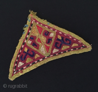 Central-Asian Antique Uzbek Lakai silk talismanic embroidery amulet very fine condition ! Circa - 1900 Size - 7.5 cm x 12.5 cm Thank you for visiting my rugrabbit store !