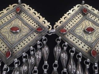 Central-Asia Turkmen-tekke pair of ethnic traditional silver headdress jewelry (donbaghcık) fire gilded with cornalian open work Fine condition ! Circa - 1900 Size - Height : 18.5 cm - Width : 11  ...