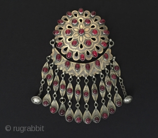 Central-Asia Ethnic Turkmen / Turkoman tribal silver Gulyhaka pendant / necklace gold washed with glass and silver vintage traditional brochure Good condition ! Circa - 1930-50 Size - Height : 19 cm  ...