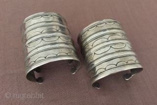 Central - Asia Turkmen pair of ethnic tribal old silver cuff bracelets ( Arm - band ) Circa - 1900 Size - 6.5 cm x 6.5 cm - İnnir circumference : 13.5  ...