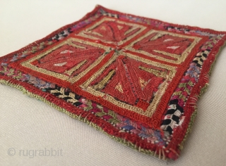 Central - Asian Antique Turkmen silk embroidery textile. Circa - 1900 Size - 12.5 cm x 12 cm Thank you for visiting my Rugrabbit store .