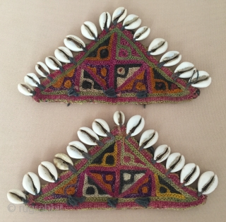 Central - Asian Uzbek pair of traditional talismanic embroidery silk amulets.  Circa - 1900 Size - 10 cm x 18.5 cm Thank you for visiting my Rugrabbit store .