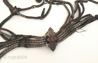 Central-Asia Turkmen-tekke ethnic tribal silver horse cover with old leather and with cornalian Fine condition ! Circa - 1900 or earlier Thank you for visiting my rugrabbit store !