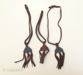 Central-Asia from Afghanistan 3 pieces horse accessories with old leather Circa - 1900-30 Fine condition ! Thank you for visitng my rugrabbit store !