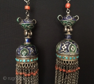 Central-Asia A pair of Uzbekistan - Bokhora ethnic tribal silver enamal tassel necklace with coral very fine condition ! Circa - 1900 or earlier Size - Lenght with chain : 59 cm  ...