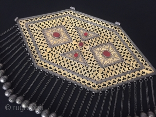 Central-Asia Very Large Ethnic Turkmen traditional a beautifull handcrafted necklace - gonchuk open work iskendery design Turkmen art tribal jewelry This is collector piece Great and Excellent condition ! Circa - 1900  ...