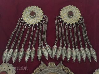 Central-Asia Rare A beautifull ethnic Turkmen traditional all silver handcrafted wall hanging decorative and accessories Fine fire gilded with cornalian special piece. This is a collection art turkoman jewelry / jewellery Excellent  ...