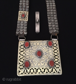 Central-Asia Rare ! Antique Turkmen ethnic tribal silver bag - heikel fire gilded with cornalian and old leather İskendery design very fine handcrafted traditional turkoman collector silver heikel Great condition ! Circa  ...