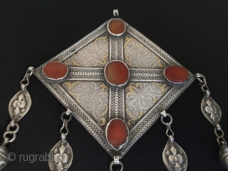 Central-Asia From Turkmenistan-tekke antique silver necklace gonchuk fire gilded with cornalian original ethnic tribal turkmenart jewelry.Circa-1900 Size: Height'20'-Width'12.5'cm -Weight'131'gr Thank you for visiting my rugrabbit store!