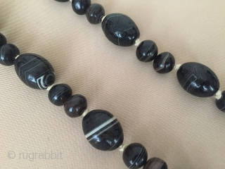 Natural color black Suleymany stone necklace Circa - 1900 or earlier Thank you for visiting my rugrabbit store !