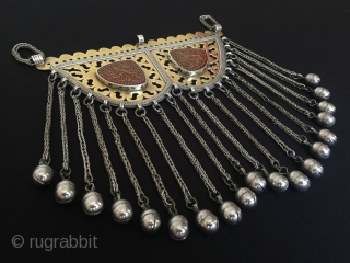 Central-Asia Turkmen Ethnic traditional silver necklace with cornalian fire gilded on the stone writting islamic for good luck original tribal art jewelry Circa 1910-1930s Height'19'-Width'18'cm-Weight : 220 gr Thank you for visiting  ...