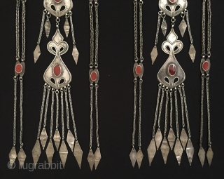 Central-Asia Rare Antique A pair of Turkmen-Ersary ethnic traditional silver headdress jewelry with old cornalian  original tribal turkoman jewellery This is collector turkmen art jewelry Excellent condition ! Circa - 1900  ...