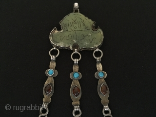 Central-Asia Turkmen vintage silver pendant with turquoise and cornalian stone big stone name's Shahmesut on the writting islamic for good luck talisman antique pendant Best condition Circa-1900 Height''15'' - Width''5.5''cm - Weight  ...