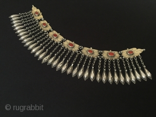 Central-Asia Turkmenistan Ethnic Tribal silver pediment and necklace with cornalian fire gilded excellent condition collection vintage traditional turkmen jewelry Circa-1900 Lenght''41'' - Height''9''cm - Weight : 187gr Thank you for visiting my  ...