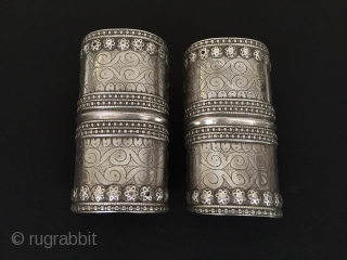Central-Asia Afghanistan (olam) culture Antique pair cuff traditional silver beatiufull  bracelet for wedding best condition Circa-1900 Size-''12.5 x 6.5''cm Weight : 383gr Thank you for visiting my rugrabbit store!