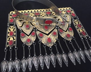 Central-Asia Turkmenistan ethnic traditional silver necklace gold washed with cornalian very fine handcrafted original turkoman tribal silver jewelry  Excellent condition ! Circa - 1920- 40 Size -  Height with hanger  ...