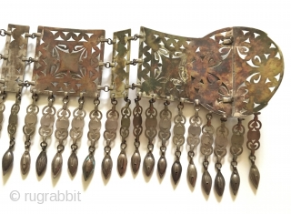 Central-Asia A rare Ethnic Turkmen beautifull traditional silver collector belt fire gilded with cornalian and on the stone for İslamic writing! (goodluck) Good condition ! Circa - 1900 - 30 Size -  ...