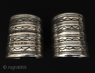 Central-Asia Turkmen-Ersary traditional pair of silver earrings very fine handcrafted original ethnic tribal jewelry / jewellery Great condition ! Circa - 1900 or earlier Size - '' 7.2 cm x 6.3 cm  ...